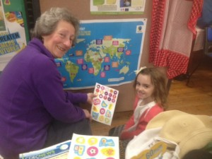 Debbie from CDEC teaching Alice about Fairtrade